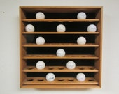 Wood GOLF BALL Display Shelf with Glass Front, Golf ball Rack, golf ball case ,golf ball Display Case , holds 42 golf balls 42 gb glass