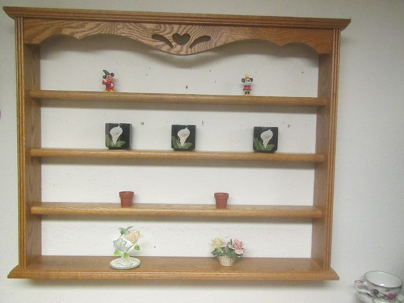 Display Shelves For Collectibles >> Oak 4 Tier Collectibles Wall Shelf Shot Glass Display Rack Etsy