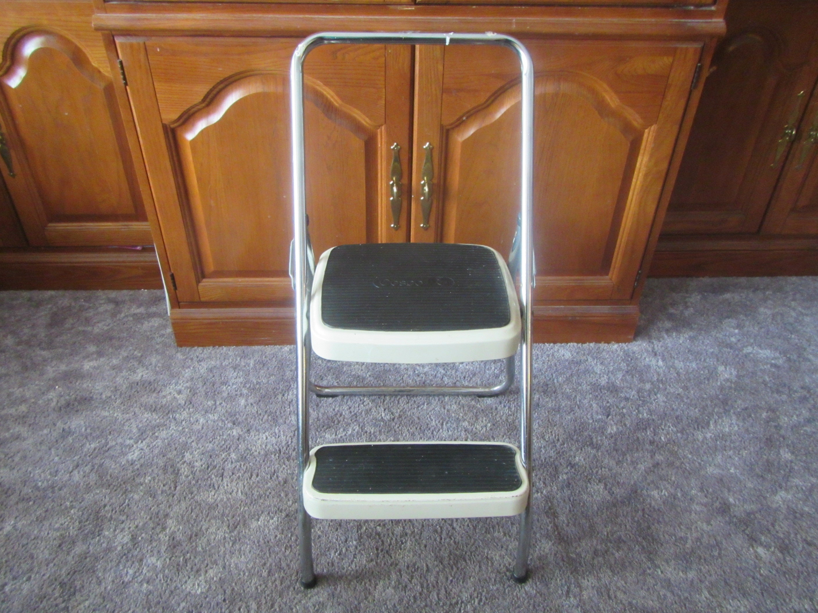 Folding Cosco Kitchen Step Stool Chair , fold in step, metal and Chrome  1960s or 1970s