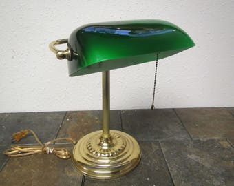Green desk lamp etsy vintage brass desk lamp with green glass shade bankers style light student lamp aloadofball Choice Image