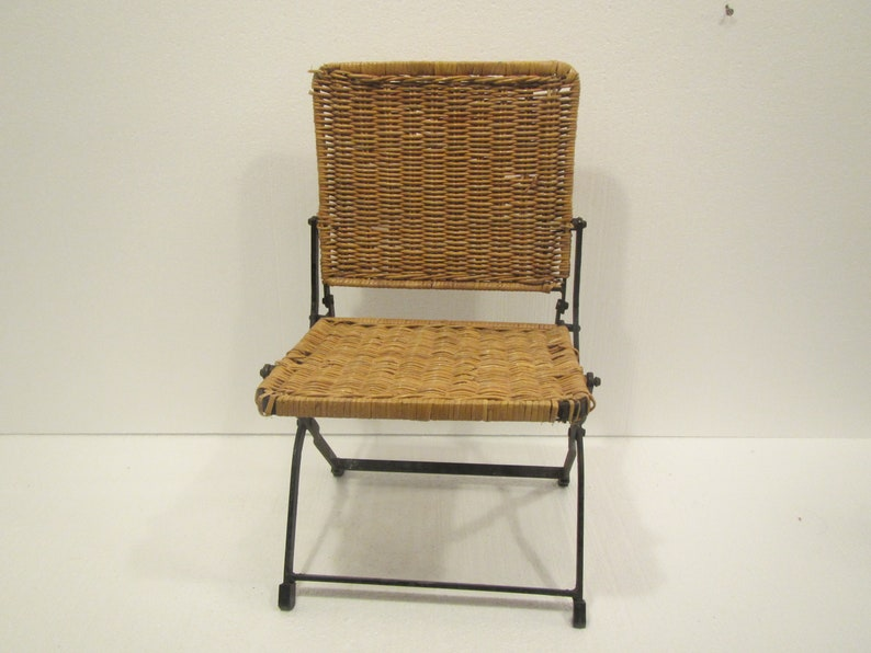 Vintage Iron And Wicker Folding Childs Chair , Salesmans Sample ?? ** Mid  Century Or Earlier