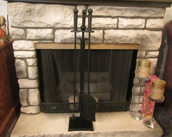 FIREPLACE TOOL SET; vintage Black Wrought Iron shovel, tongs,  and poker  with stand {FP101}