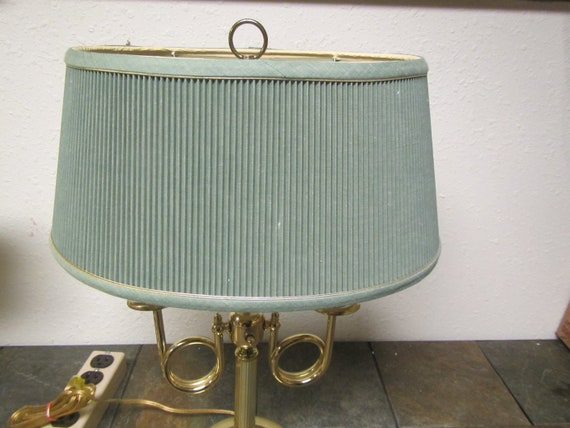 Vintage Alsy Brass Double Lamp With Oval Shade 2 Bulb Etsy