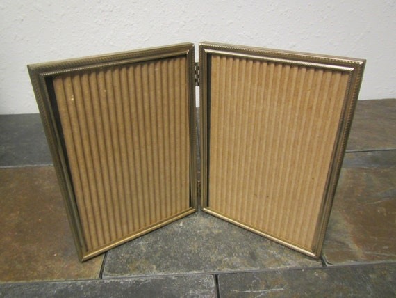 Vintage Double Hinged 5 By 7 Gold Tone Finish Picture Frames Etsy