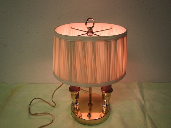 Vintage Brass Double Lamp With Oval Shade 2 Bulb Light Etsy