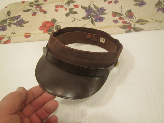 1940s Leather  Sun Visor , Prams Cap Service leath
