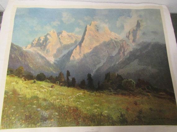 Vintage HANS STERBIK Druck Auf Leinwand Von Sommer In Den Bergen; Verano En  Las Montanas: #564