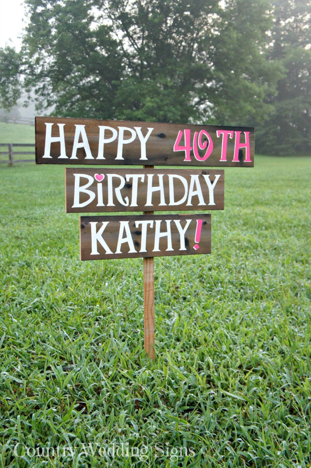 Happy Birthday Party Wood Yard Sign