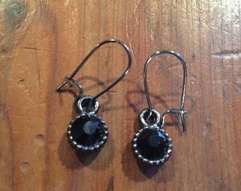 Black and gunmeatal drop earrings