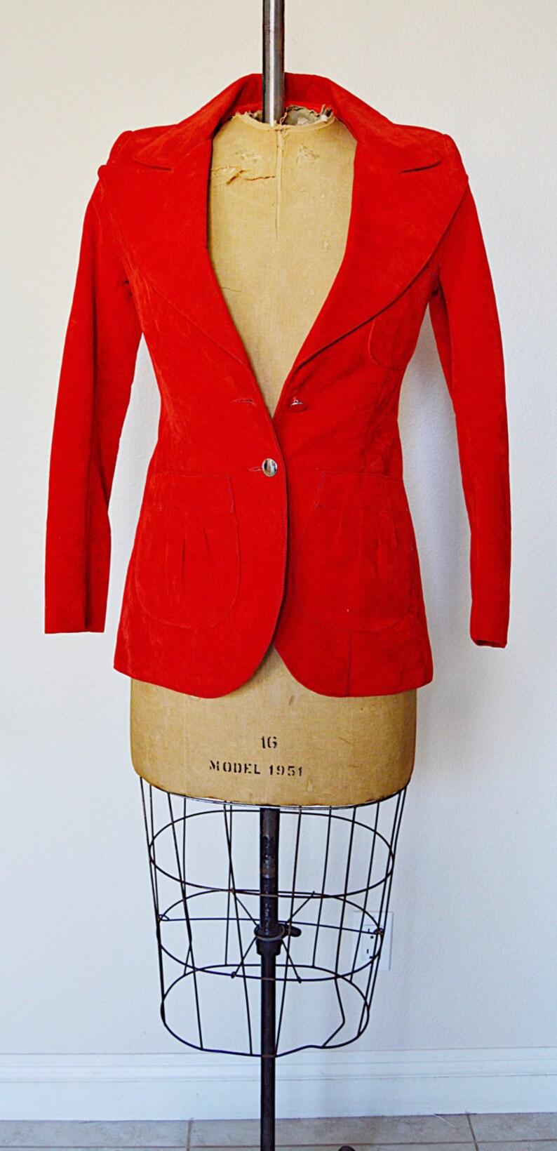 1960/'s Blazing in Red | Velvet felt Blazer Late 1960/'s early 1960/'s RARE