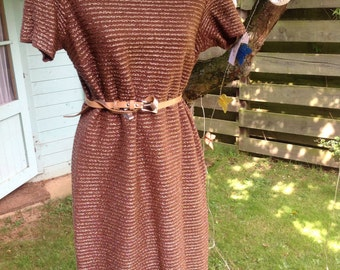 60's vintage Chocolate bronze stretch bombshell dress