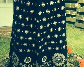 70's folky vintage metal daisy maxi skirt