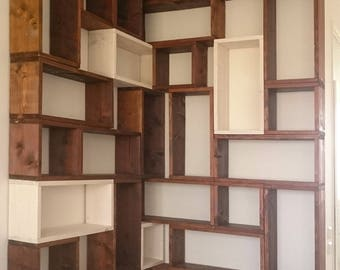 Bookcase made up of blocks