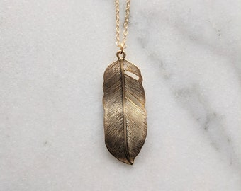 Gold Feather Necklace | Long Feather Necklace Simple Necklace Long Necklace Long Pendant Necklace Long Silver Pendant Leaf Necklace Gold