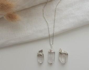 Silver Crystal Quartz Necklace | Long Crystal Necklace, Long Necklace Crystal Pendant Necklace, Boho Necklace Quartz Crystal, Layer Necklace