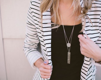 Double Pendant Necklace | Layered Necklace | Pendant Necklace | Silver Pendant | Long Pendant Necklace | Gifts for her | Simple Necklace