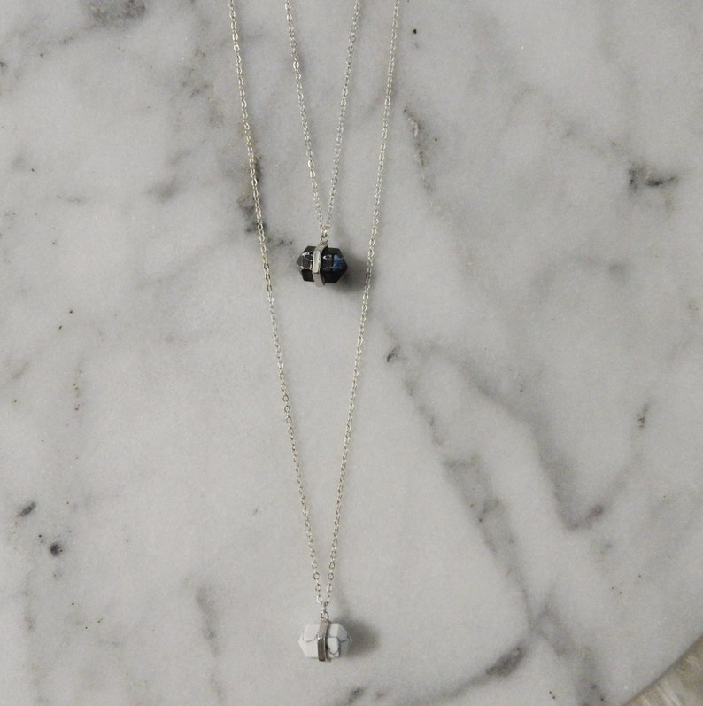 Silver Howlite Necklace Stone Necklace Long Layering Necklace Boho Chic Jewelry Crystal Necklace Long Necklace with Pendant Howlite Stone