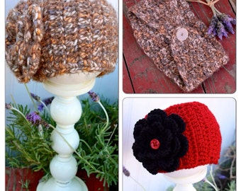 Crochet Ear Warmer with Interchangeable Flower-- Variety of styles and colors