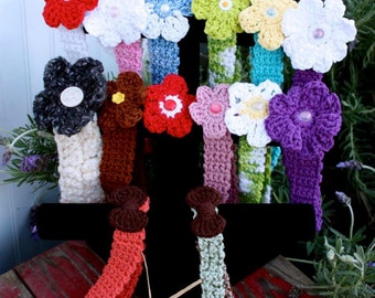 Crochet Infant/Child Adjustable Headband with Interchangeable Flower