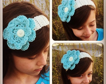 Frozen Inspired Crochet Infant/Child Adjustable Headband with Removable Interchangeable Flower
