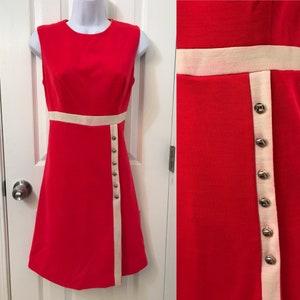 Red Dress Women Shift Dress 60/'s Mod Dress Minimalist Dress, Valentines Day Dress Women Vintage 60/'s 70/'s Wool Dress by SEARS