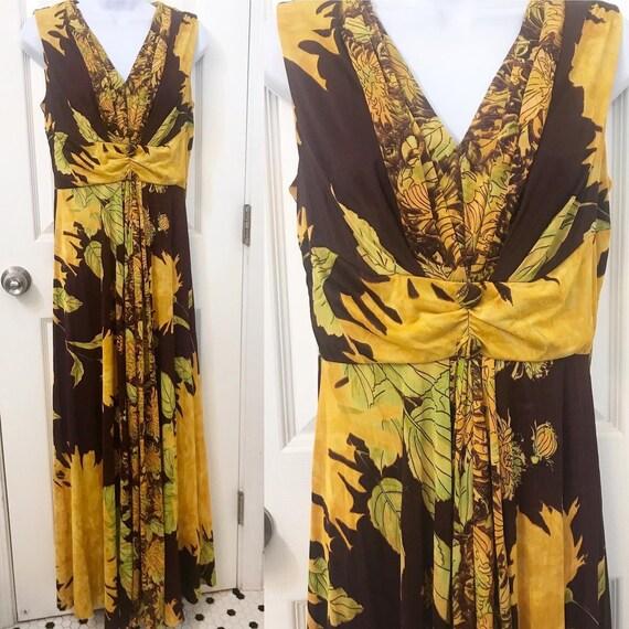 Beautiful gathered florals rayon nylon jersey maxi