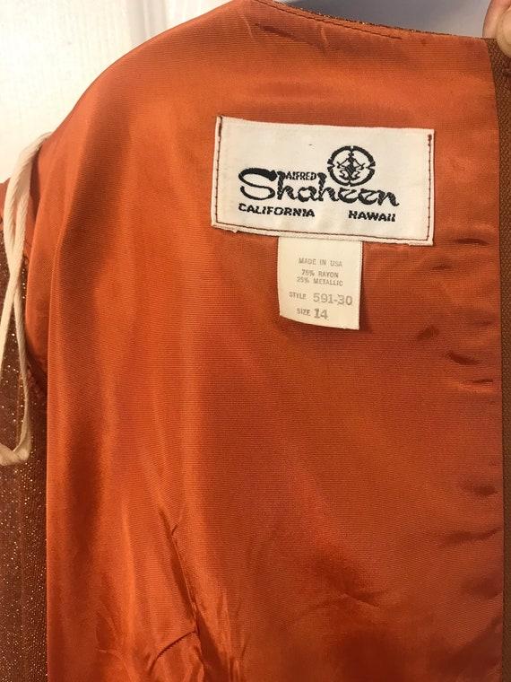 """33"""" waist Alfred Shaheen copper Lurex Shaheen acc… - image 2"""