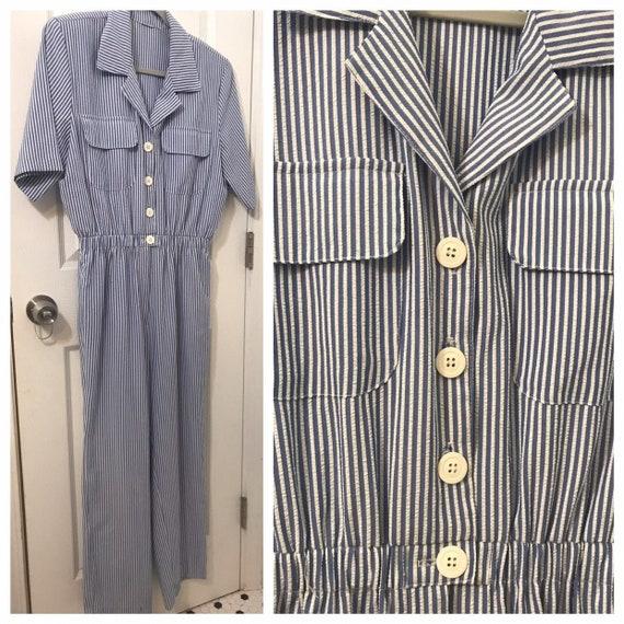 Seersucker jumpsuit 80s does 40s - 1940s 1950s WW2