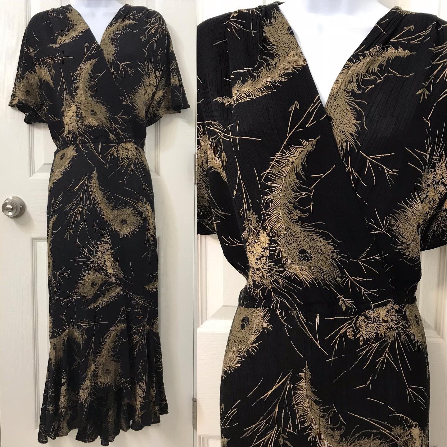 80s Dresses | Casual to Party Dresses Beautiful Rayon Bias Cut Maxi Vintage Black Feathers Foliage Florals Hostess Dress Flutter Sleeve Fishtail Gown 80S 1980S Does 30S 1930 $29.50 AT vintagedancer.com