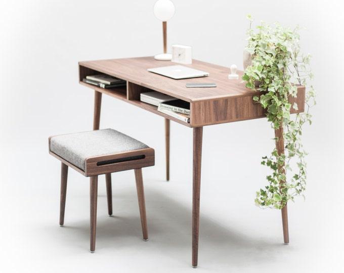 Modern Walnut Desk with Open Cubbies Mid Century Design