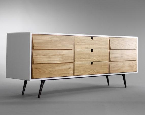 Dresser / cupboard / credenza in solid board oak / walnut, media console, Mid century