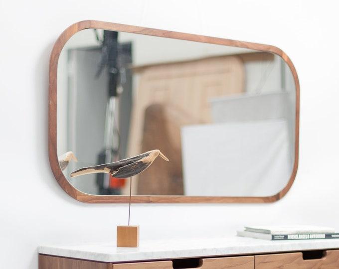 Brown Walnut Oak Wood Full Length Mirror, Wall Mirror, Leaning Mirror, Vanity Mirror, Modern Mirror