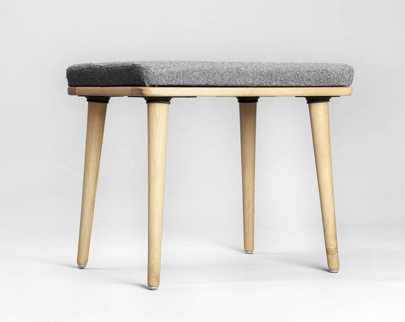 Scandinavian Modern Upholstered Stool in Natural Oak / walnut / beech