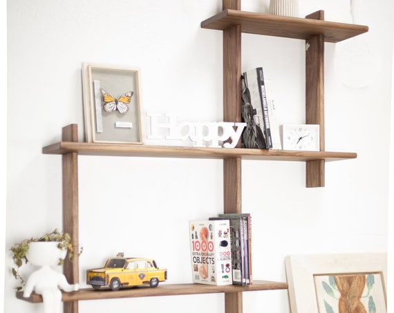 Floating shelf / Solid wood shelf / Bookshelf / Wall shelving unit / Entryway shelf /Storage shelf / in Oak or Walnut wood