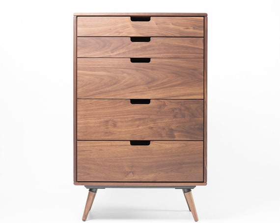 Chest of drawers, tallboy, Mid-century, Scandinavian style, in oak or walnut solid wood