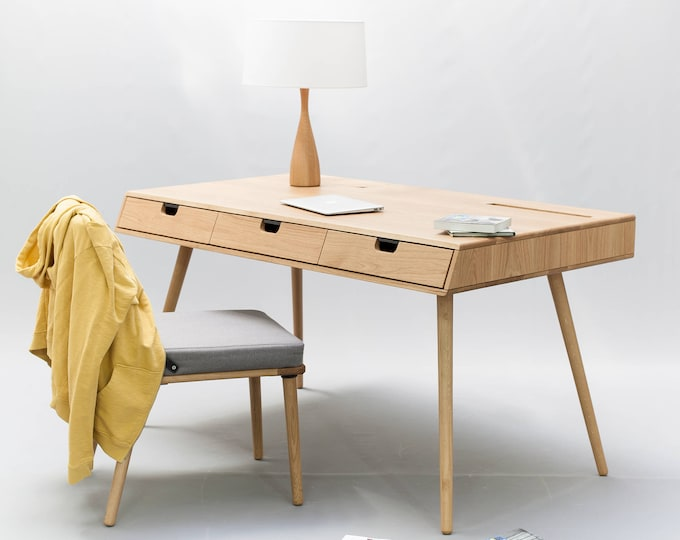 Desk in oak wood , Mid Century, Modern, Tantik