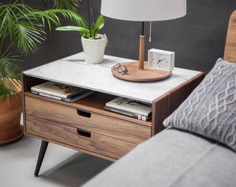 Nightstand with two drawers in solid Walnut / Oak wood board and on top Carrara marble