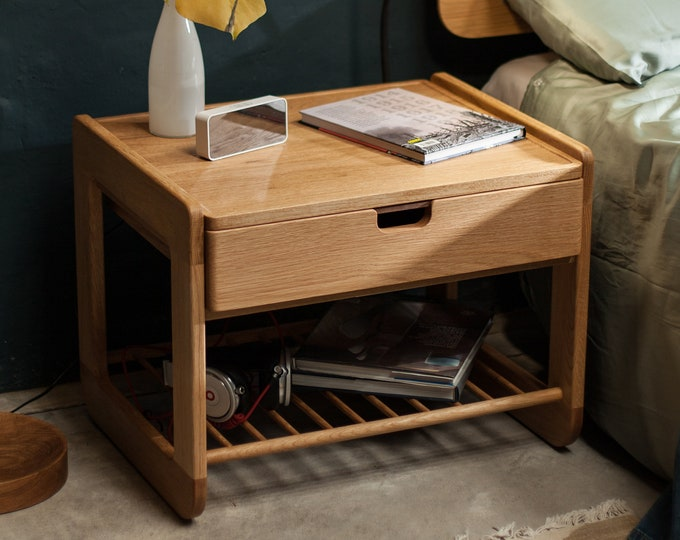 Featured listing image: Nightstand  Bedside table in solid  wood Oak board
