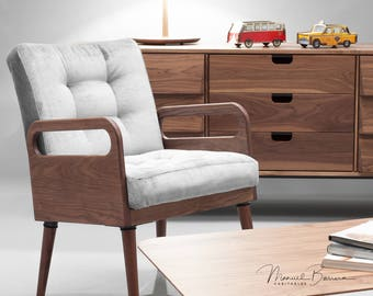 Mid Century Armchair in oak / walnut in solid wood board upholstered