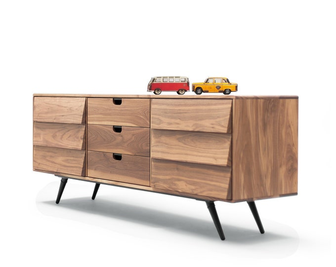 Featured listing image: Sideboard / cupboard / credenza in solid board oak / walnut, Mid century ,escandinavian