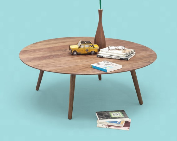 Coffee table, round table , side table ,  made of solid Walnut board