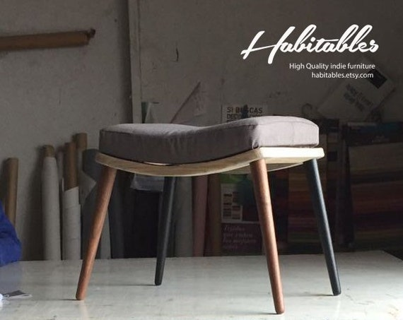 Upholstered bench / Stool / Seat / Ottoman / in oak or walnut