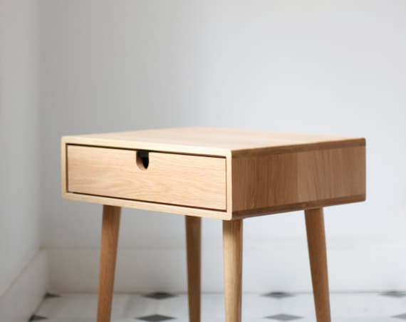 Nightstand mid century - One or two drawers and retro legs made of solid oak