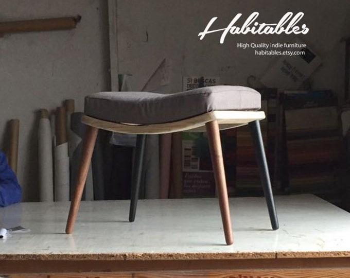 Upholstered bench / Stool / Seat / Ottoman / in oak or walnut
