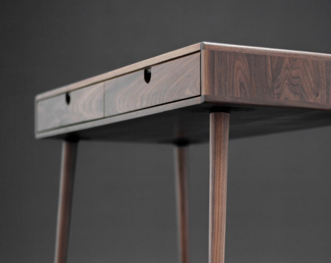 Featured listing image: Solid Walnut board desk , Bureau , dressing table , office desk, Classic, Mid Century, Modern.