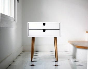 Nightstand / Bedside Table White, Style Mid-Century Modern Retro Scandinavian 2 drawers