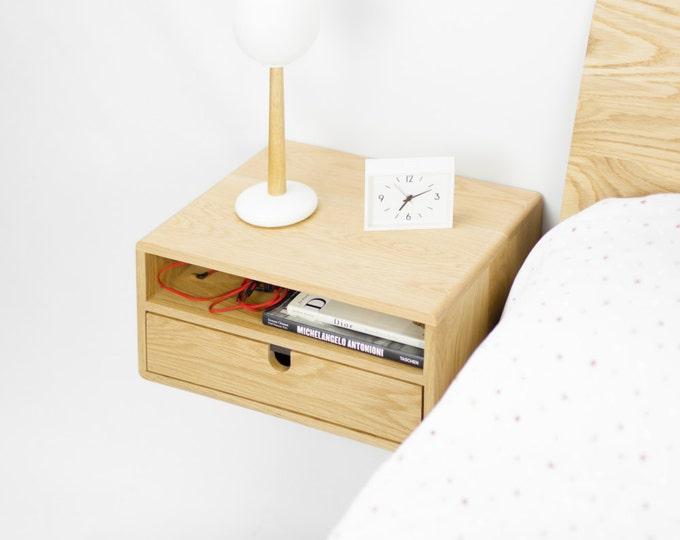 Floating nightstand bedside table with 2 drawers in solid oak mid century modern