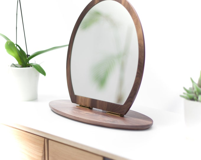 Brown Walnut Oak Small Mirror, Vanity Mirror, Leaning Mirror, Modern Mirror, Table Mirror
