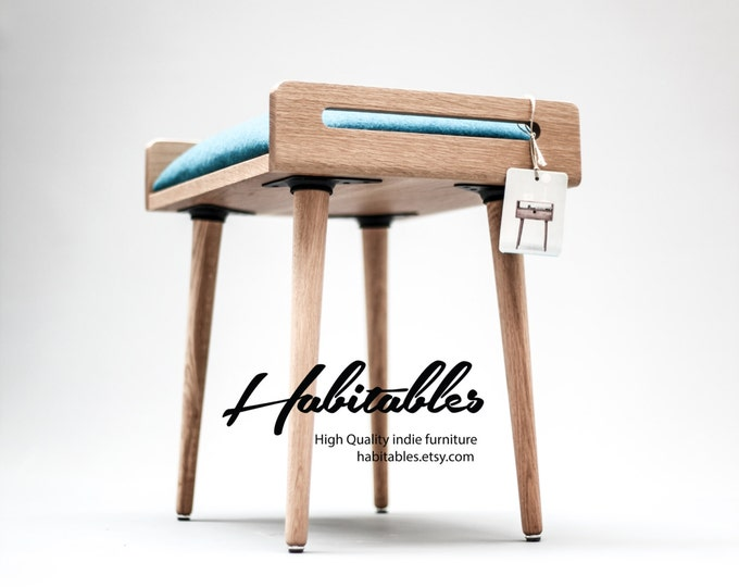 Seat / stool / Ottoman / bench made of solid oak table, oak legs, Upholstered in turquoise cool wool