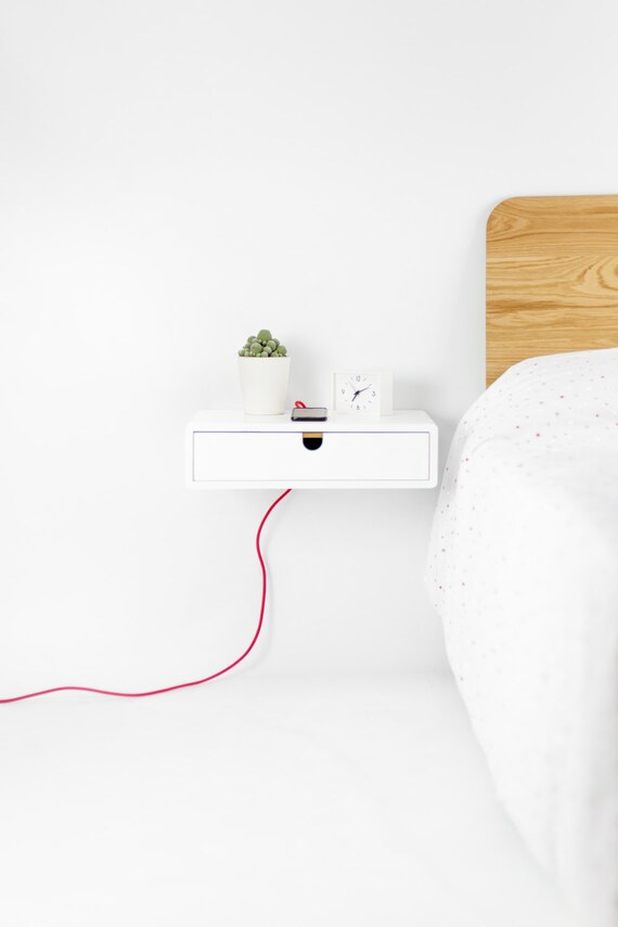 Floating White nightstand / Bedside Table / Drawer,  Scandinavian Mid-Century Modern Retro Style